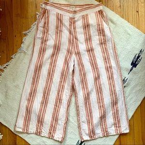 Christian Siriano Striped Linen Blend Crop Pant XL
